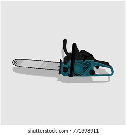 chainsaw vector, icon illustration on gray background with shadow