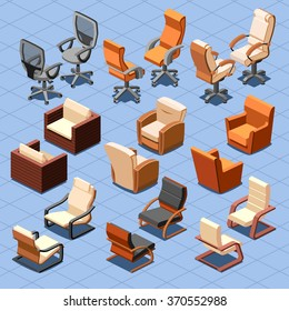 Chair and armchair isometric set. Interior seat furniture for business or home. Vector illustration