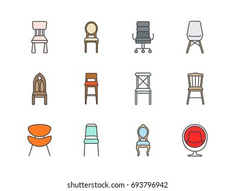 Chair colored line icons set.