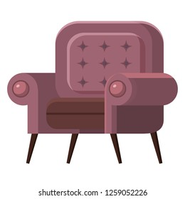 Chair cute furniture armchair and seat pouf design in furnished apartment interior illustration of business office-chair or easy-chair isolated on white background, vector, cartoon style