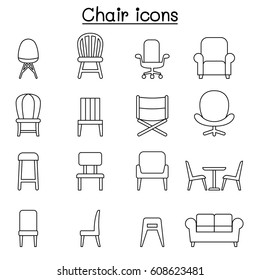 Chair & Furniture icon set in thin line style