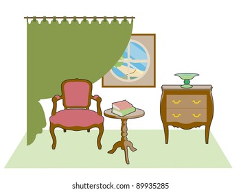 Chair, and green curtains