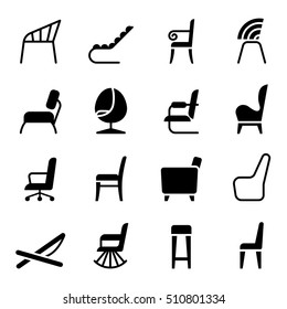 Chair icon set in side view