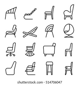 Chair icon set in side view thin line style
