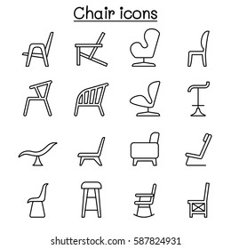 Chair icon set in thin line style