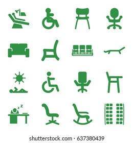 Chair icons set. set of 16 chair filled icons such as disabled, plane seats, man sleeping on table, sofa, sunbed