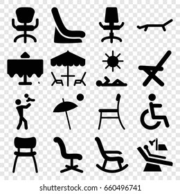 Chair icons set. set of 16 chair filled icons such as restaurant table, baby seat in car, disabled, sunbed, umbrella, table under umbrella, man laying in sun