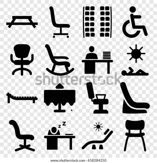 Chair Icons Set Set 16 Chair Stock Vektorgrafik Lizenzfrei 658284250