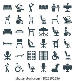 Chair icons. set of 36 editable filled chair icons such as restaurant table, disabled, plane seats, table, father with baby, sofa, sunbed