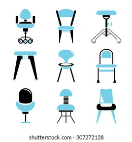 chair icons set, furniture icons