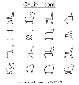 Chair icons set in side view