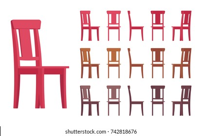 Chair interior set. Traditional country look dining setting, elegant wood decor. Different colors, positions. Vector flat style cartoon illustration isolated on white background