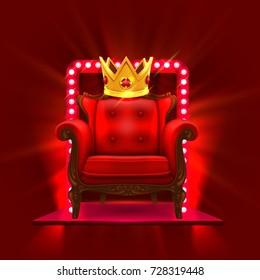 Chair King Casino Podium Art Vector Illustration