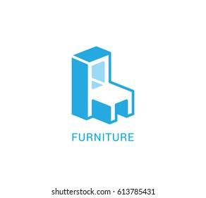 Chair, modular furniture  vector logo in modern style