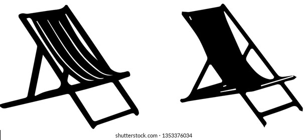 chair on beach icon on white background