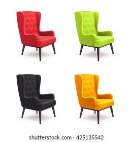 Chair realistic icon set four identical chairs with different colors are soft colorful with wooden legs vector illustration