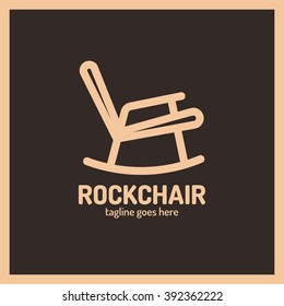 Chair, rocking, furniture icon vector logo. Rock chair logotype. Fashion, light color