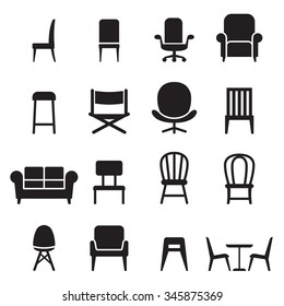 Chair & Seating icons set Vector illustration