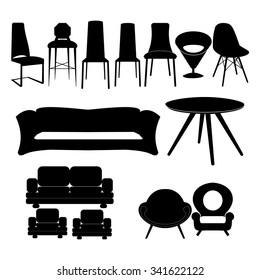 Chair set, icon set.