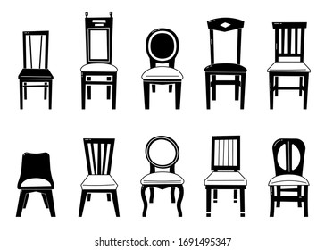 Chair Set Vector. Desk Chairs Furniture. Different Types.