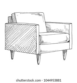 Chair. Sketch isolated on white background. Vector illustration.