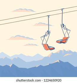 Chair ski lift for mountain skiers and snowboarders moves in the air on a rope on the background of winter snow capped mountains and sunset. Vector flat illustration.