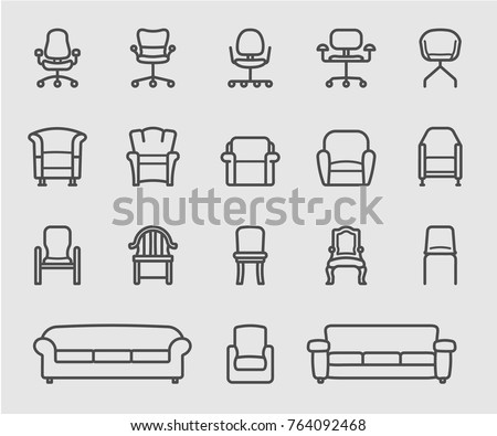 Chair Sofa Front View Line Icon Stock Vector Royalty Free