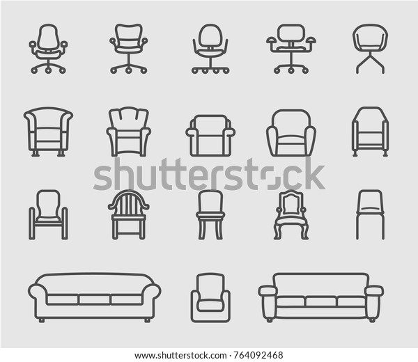 Pleasant Chair Sofa Front View Line Icon Stock Vector Royalty Free Inzonedesignstudio Interior Chair Design Inzonedesignstudiocom