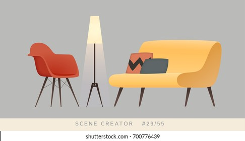 Chair, sofa, lamp. Isolated vector objects. Scene creator set.