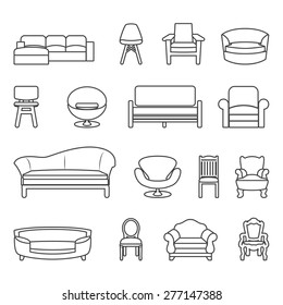 chair and sofa line vector set