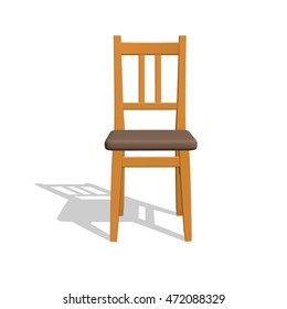 Chair.Isolated On White Background. 3d Vector Illustration.Front View.