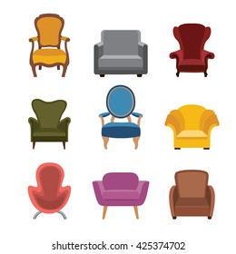 Chairs and armchairs icons set. Furniture collection of different armchairs in flat style.