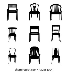 Chairs and Armchairs Silhouette Set. Modern and Ancient Furniture collection for home, office, restaurant, cafe