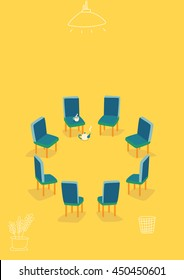Chairs arranged in a circle. Meeting room. Support room. Tea break.