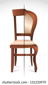 Chairs divided by the style line