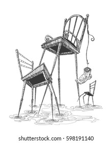 Chairs with long legs. The chairs are dancing. Surrealism. Hand drawn illustration