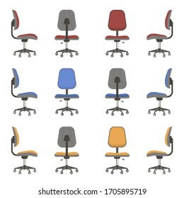 Chairs or office chairs with different viewing angles. Armchair set without armrest