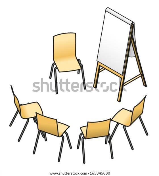 Swell Chairs Set Small Group Workshop Seminar Stock Vektorgrafik Interior Design Ideas Helimdqseriescom