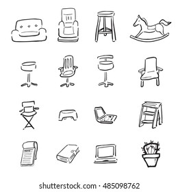 Chairs and Sofa cartoon drawing icons