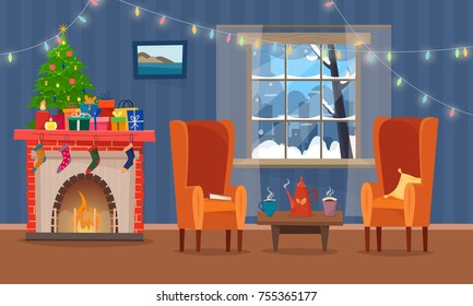 Chairs and table with cus of tea or coffee, cookies and pillow. Christmas fireplace with gifts, socks  and candles. Winter window with lights. Flat cartoon style vector illustration.