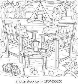 Chairs and table in the garden. Picnic.Coloring book antistress for children and adults. Illustration isolated on white background.Zen-tangle style. Hand draw - Shutterstock ID 1934655260