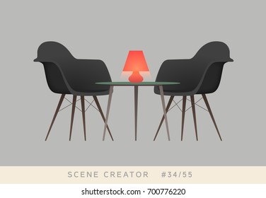 Chairs, table, red lamp. Isolated vector objects. Scene creator set.