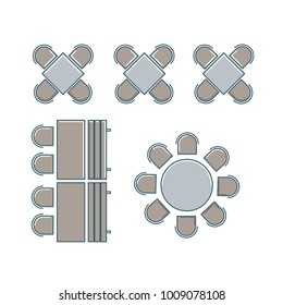 Chairs And Tables Furniture Flat Style Set