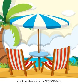 Chairs and umbrella on the beach illustration