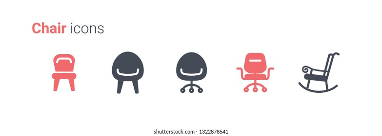 Chairs vector icon collection