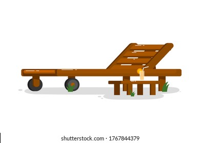 Chaise longue. Isolated outside chaise longue with beverage drink on table icon. Wooden deck chair. Vector garden or beach outdoor summer rest furniture for relaxation