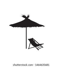 Chaise longue and parasol. Deckchair umbrella summer beach holiday symbol silhouette icon