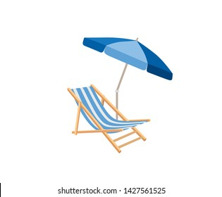 Chaise longue, parasol isolated. Deckchair color drawing. Deck chair, table, parasol - summer sunbath beach resort symbol of the holidays