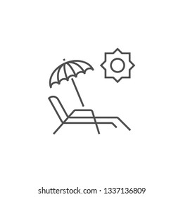 Chaise Lounge Icon. Chaise Lounge Related Vector Line Icon. Isolated on White Background. Editable Stroke.