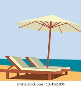 Chaise lounge and umbrella on sand beach. Vector illustration.